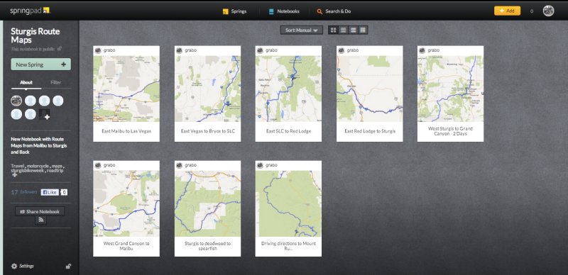 Using Springpad to map routes for a motorcycle trip