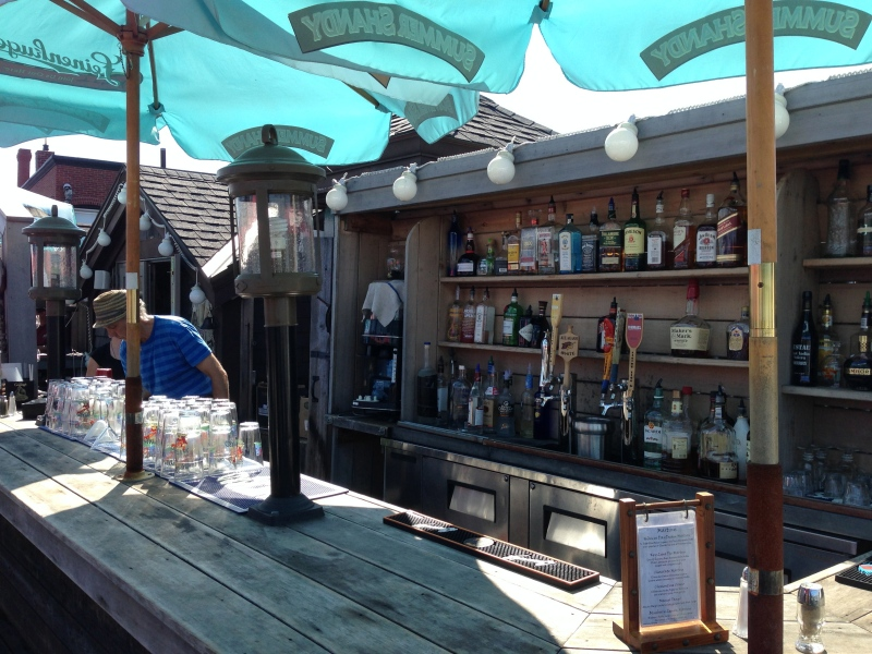 Bar on roofdeck at Boathouse Bistro in Boothbay Harbor