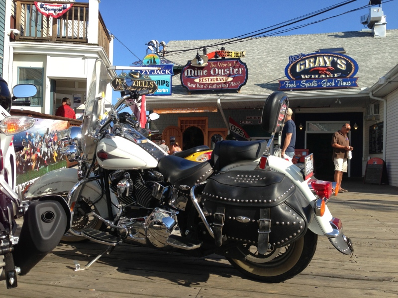 Heritage Softail seen in the wild outside McSeagulls in Boothbay