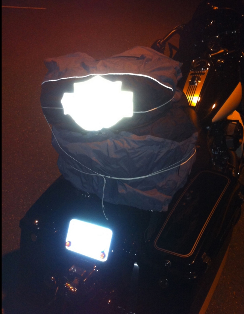 When the electrics all go out you use whatever you have to light up the bike