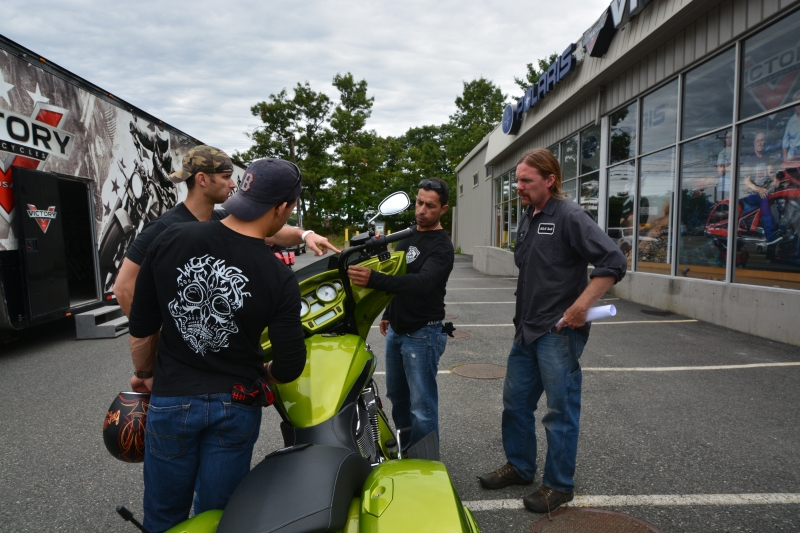 Jason (Jay) Wheeler showing the painted inner fairing of the Victory Magnum